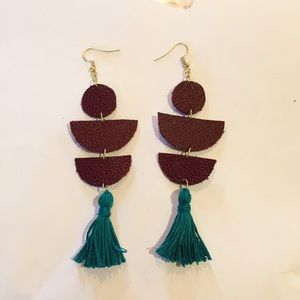 Leather Statement Earrings with Tassels